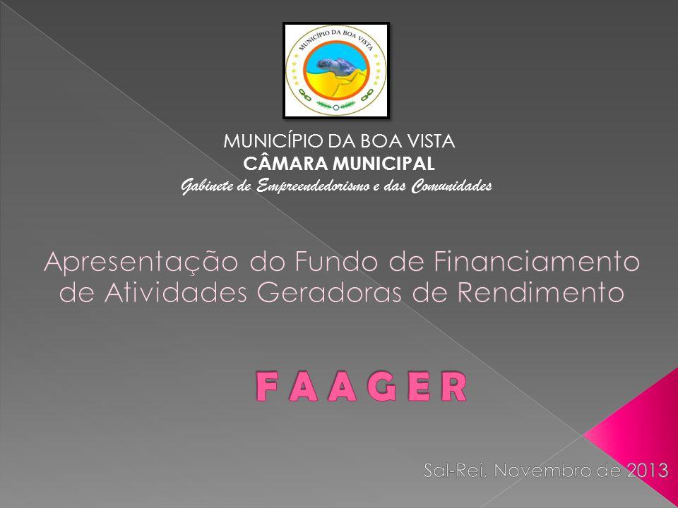 FAAGER – Projecto desenvolvido para financiar pequenos empreendedores; Criado no ano de 2008; Projecto da Câmara Municipal da Boa Vista em parceria com o BCN;