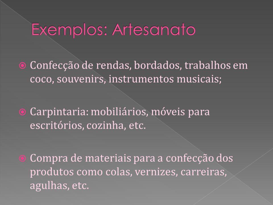 Confecção de rendas, bordados, trabalhos em coco, souvenirs, instrumentos musicais; Carpintaria: mobiliários, móveis para escritórios, cozinha, etc.