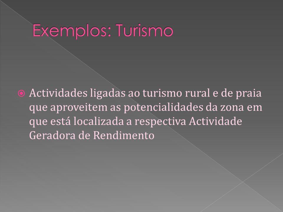 Actividades ligadas ao turismo rural e de praia que aproveitem as potencialidades da zona em que está localizada a respectiva Actividade Geradora de Rendimento