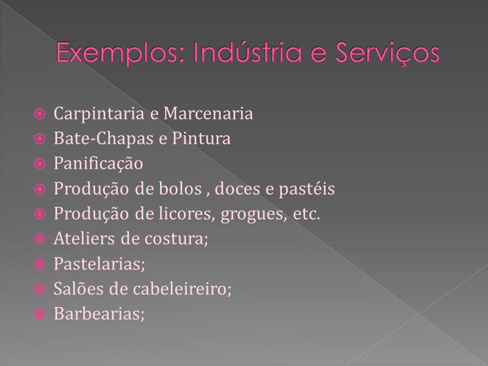 Carpintaria e Marcenaria Bate-Chapas e Pintura Panificação Produção de bolos, doces e pastéis Produção de licores, grogues, etc.