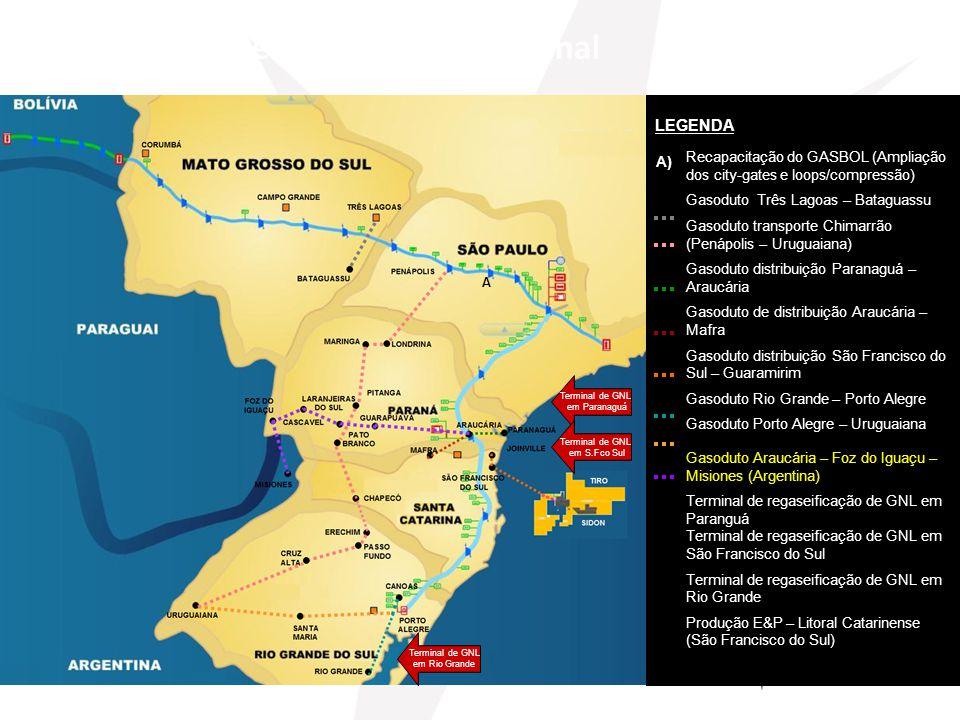 Recapacitação do GASBOL (Ampliação dos city-gates e loops/compressão) Gasoduto Três Lagoas – Bataguassu Gasoduto transporte Chimarrão (Penápolis – Uru