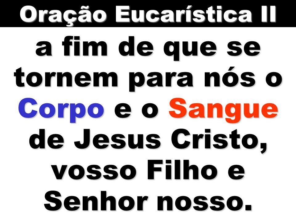 a fim de que se tornem para nós o Corpo e o Sangue de Jesus Cristo, vosso Filho e Senhor nosso.