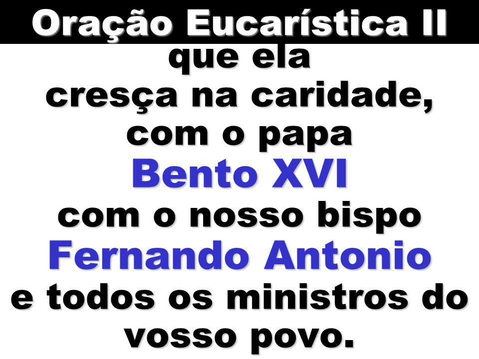 que ela cresça na caridade, com o papa Bento XVI com o nosso bispo Fernando Antonio e todos os ministros do vosso povo.