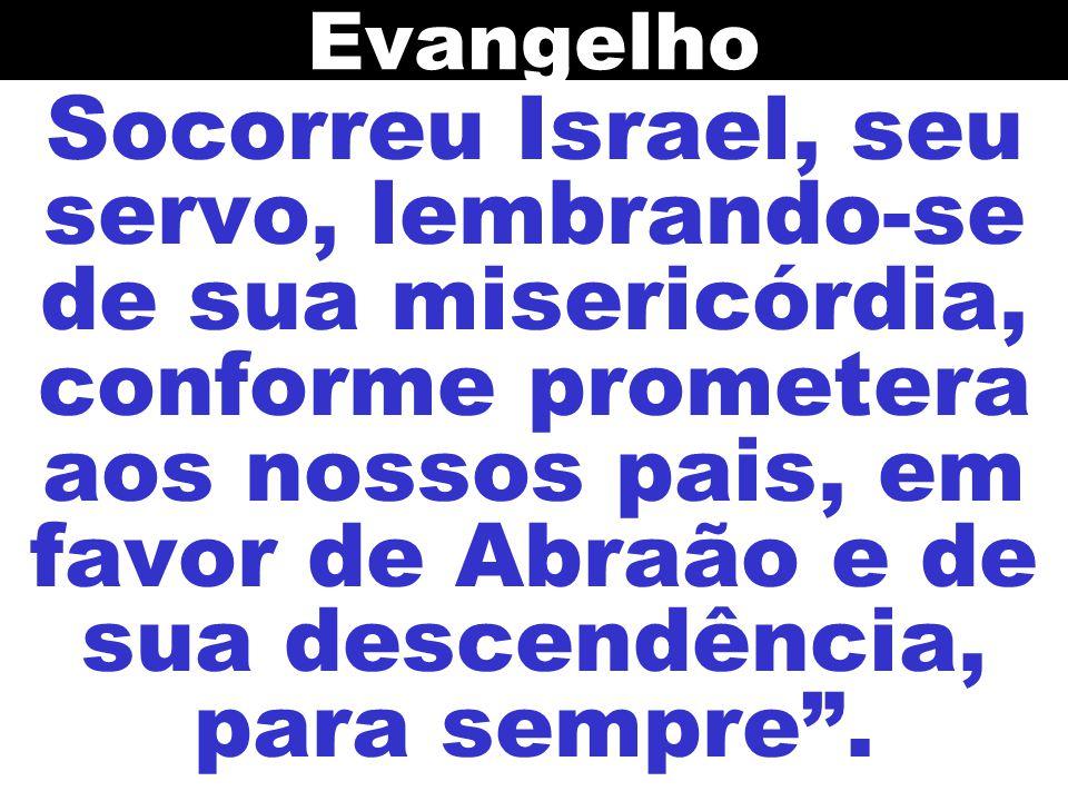 Socorreu Israel, seu servo, lembrando-se de sua misericórdia, conforme prometera aos nossos pais, em favor de Abraão e de sua descendência, para sempr