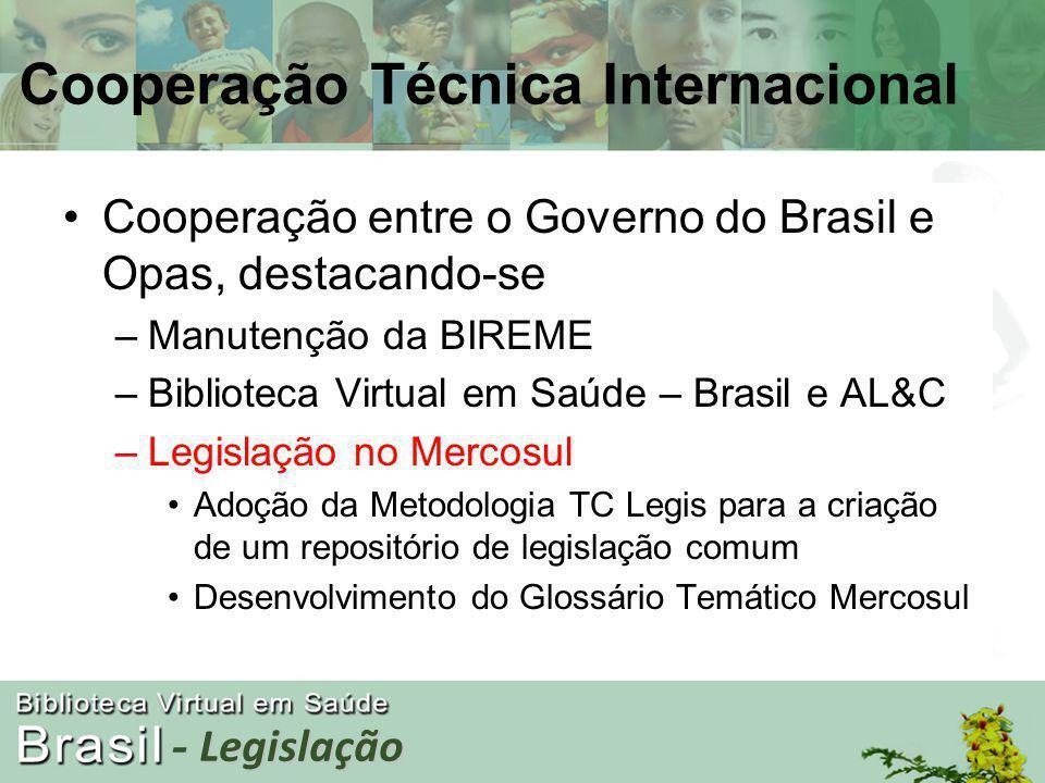 Cooperação entre o Governo do Brasil e Opas, destacando-se –Manutenção da BIREME –Biblioteca Virtual em Saúde – Brasil e AL&C –Legislação no Mercosul Adoção da Metodologia TC Legis para a criação de um repositório de legislação comum Desenvolvimento do Glossário Temático Mercosul Cooperação Técnica Internacional