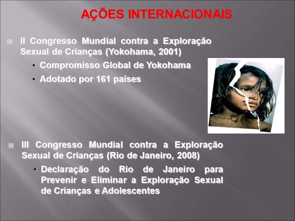 AÇÕES INTERNACIONAIS II Congresso Mundial contra a Exploração Sexual de Crianças (Yokohama, 2001) II Congresso Mundial contra a Exploração Sexual de C