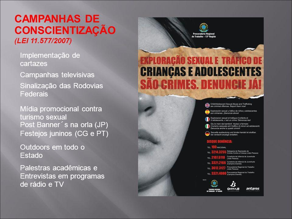 CAMPANHAS DE CONSCIENTIZAÇÃO (LEI 11.577/2007) Implementação de cartazes Campanhas televisivas Sinalização das Rodovias Federais Mídia promocional con