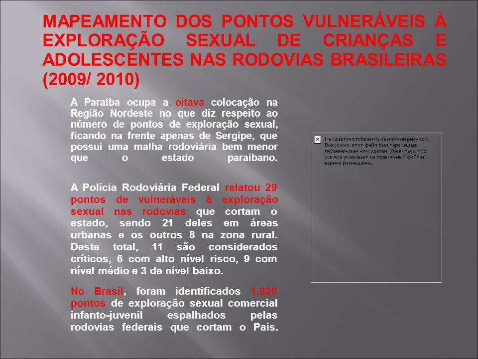 MAPEAMENTO DOS PONTOS VULNERÁVEIS À EXPLORAÇÃO SEXUAL DE CRIANÇAS E ADOLESCENTES NAS RODOVIAS BRASILEIRAS (2009/ 2010) A Paraíba ocupa a oitava coloca