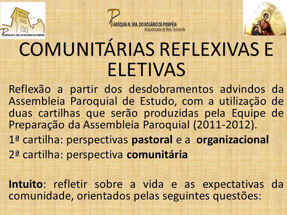 COMUNITÁRIAS REFLEXIVAS E ELETIVAS Reflexão a partir dos desdobramentos advindos da Assembleia Paroquial de Estudo, com a utilização de duas cartilhas