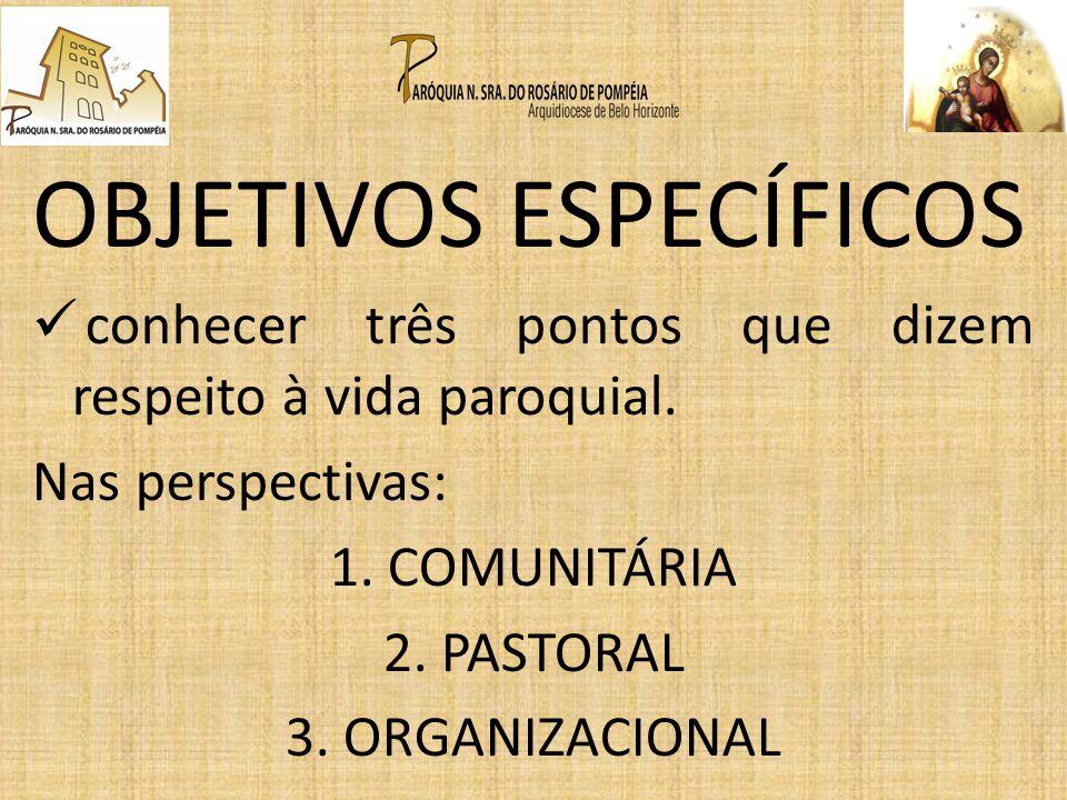 OBJETIVOS ESPECÍFICOS conhecer três pontos que dizem respeito à vida paroquial. Nas perspectivas: 1. COMUNITÁRIA 2. PASTORAL 3. ORGANIZACIONAL
