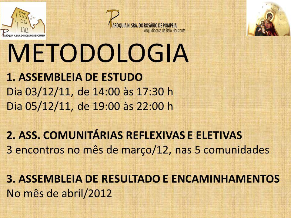 METODOLOGIA 1. ASSEMBLEIA DE ESTUDO Dia 03/12/11, de 14:00 às 17:30 h Dia 05/12/11, de 19:00 às 22:00 h 2. ASS. COMUNITÁRIAS REFLEXIVAS E ELETIVAS 3 e