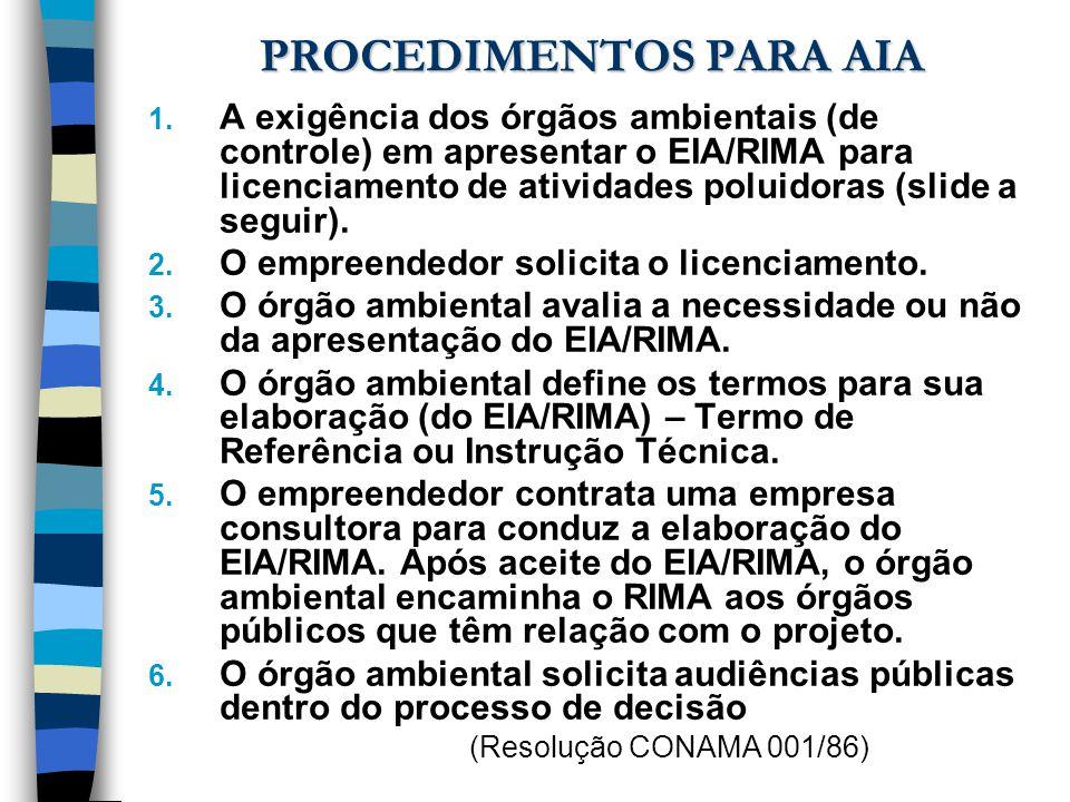 PROCEDIMENTOS PARA AIA 1. A exigência dos órgãos ambientais (de controle) em apresentar o EIA/RIMA para licenciamento de atividades poluidoras (slide
