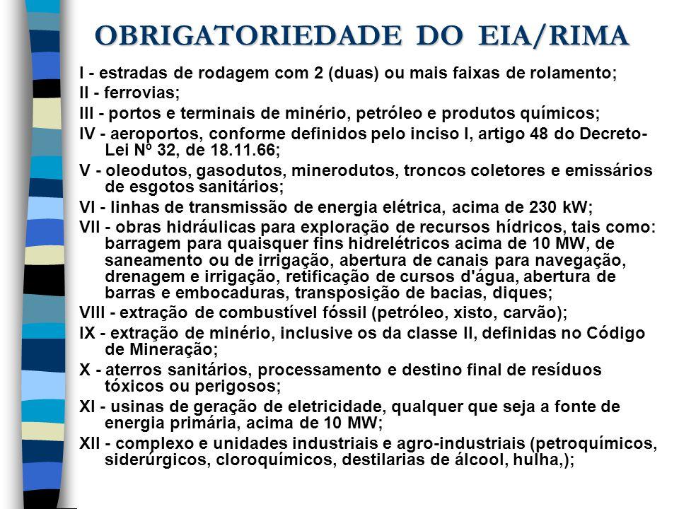 OBRIGATORIEDADE DO EIA/RIMA I - estradas de rodagem com 2 (duas) ou mais faixas de rolamento; II - ferrovias; III - portos e terminais de minério, pet