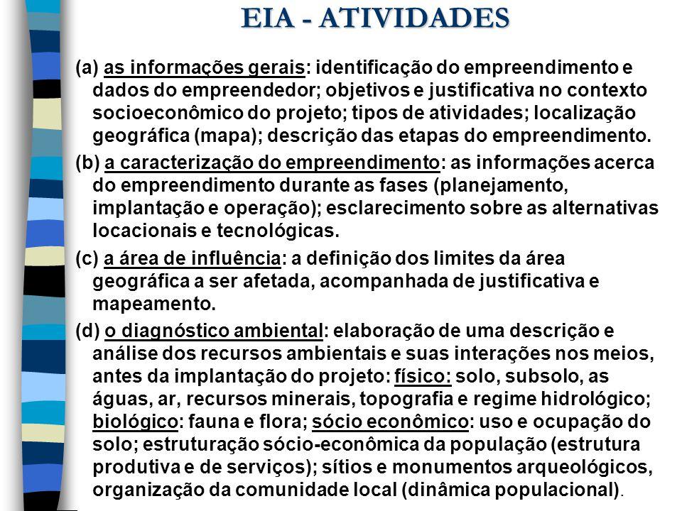 EIA - ATIVIDADES (a) as informações gerais: identificação do empreendimento e dados do empreendedor; objetivos e justificativa no contexto socioeconôm