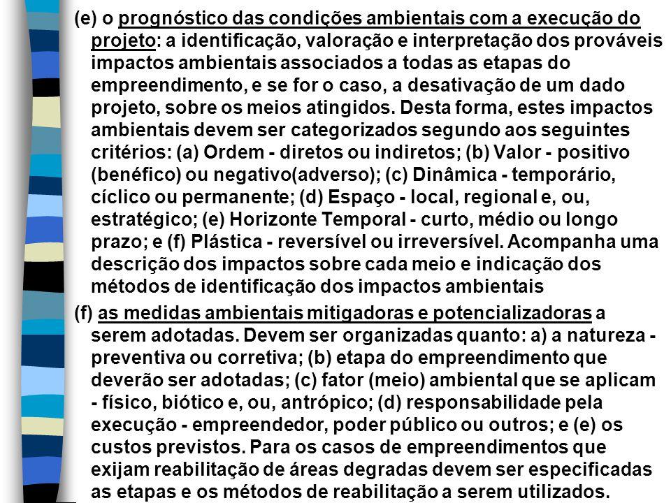 (e) o prognóstico das condições ambientais com a execução do projeto: a identificação, valoração e interpretação dos prováveis impactos ambientais ass