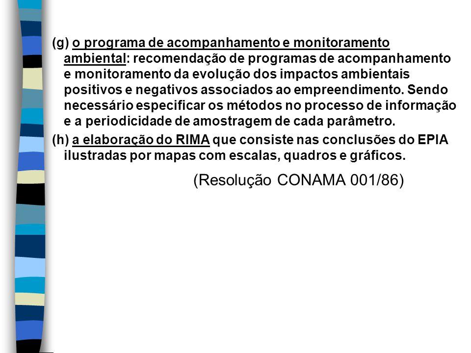 (g) o programa de acompanhamento e monitoramento ambiental: recomendação de programas de acompanhamento e monitoramento da evolução dos impactos ambie