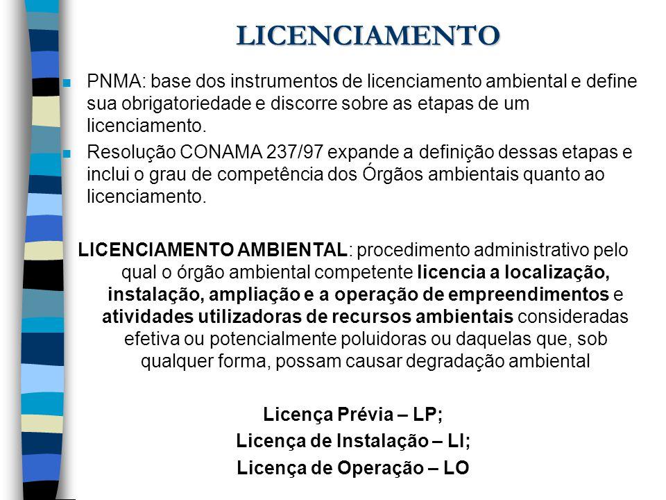 LICENCIAMENTO n PNMA: base dos instrumentos de licenciamento ambiental e define sua obrigatoriedade e discorre sobre as etapas de um licenciamento. n