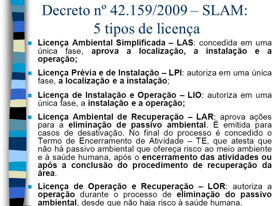 Decreto nº 42.159/2009 – SLAM: 5 tipos de licença n Licença Ambiental Simplificada – LAS: concedida em uma única fase, aprova a localização, a instala