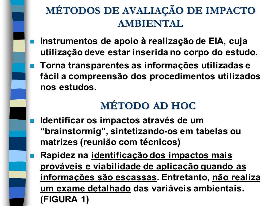 MÉTODOS DE AVALIAÇÃO DE IMPACTO AMBIENTAL n Instrumentos de apoio à realização de EIA, cuja utilização deve estar inserida no corpo do estudo. n Torna