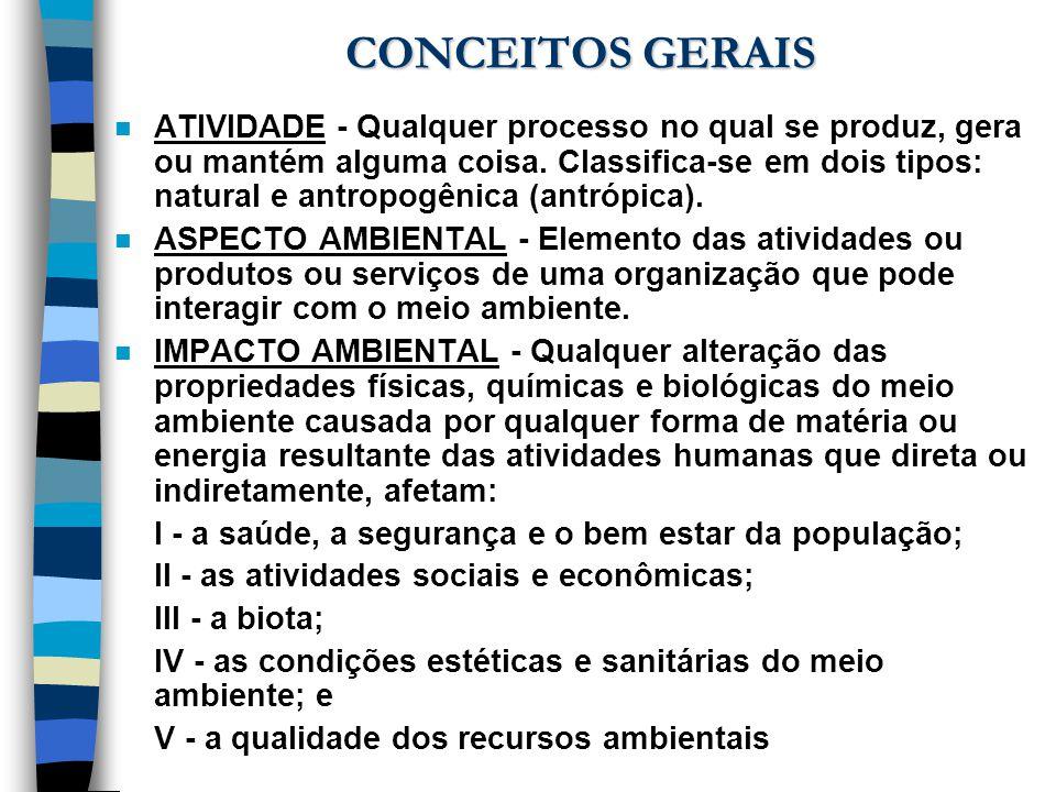 CONCEITOS GERAIS n ATIVIDADE - Qualquer processo no qual se produz, gera ou mantém alguma coisa. Classifica-se em dois tipos: natural e antropogênica