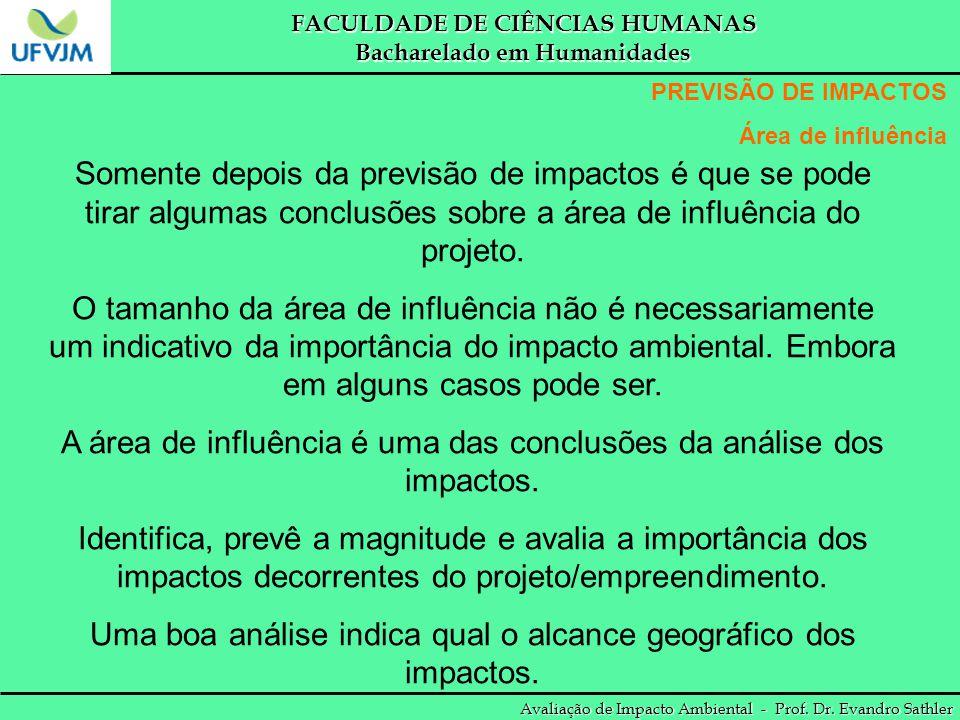 FACULDADE DE CIÊNCIAS HUMANAS Bacharelado em Humanidades Avaliação de Impacto Ambiental - Prof. Dr. Evandro Sathler PREVISÃO DE IMPACTOS Área de influ