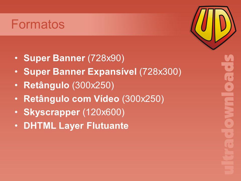 Formatos Super Banner (728x90) Super Banner Expansível (728x300) Retângulo (300x250) Retângulo com Vídeo (300x250) Skyscrapper (120x600) DHTML Layer Flutuante