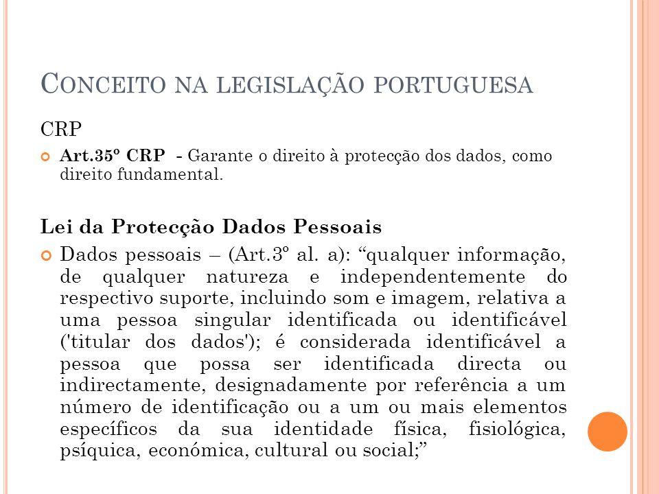 C ONCEITO NA LEGISLAÇÃO PORTUGUESA CRP Art.35º CRP - Garante o direito à protecção dos dados, como direito fundamental. Lei da Protecção Dados Pessoai