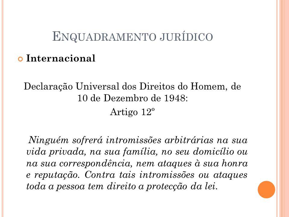 E NQUADRAMENTO JURÍDICO Internacional Declaração Universal dos Direitos do Homem, de 10 de Dezembro de 1948: Artigo 12º Ninguém sofrerá intromissões a