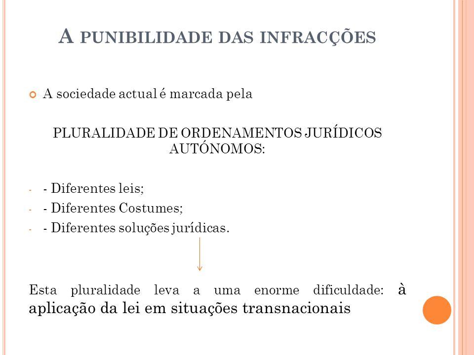 A PUNIBILIDADE DAS INFRACÇÕES A sociedade actual é marcada pela PLURALIDADE DE ORDENAMENTOS JURÍDICOS AUTÓNOMOS: - - Diferentes leis; - - Diferentes C
