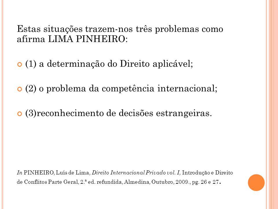Estas situações trazem-nos três problemas como afirma LIMA PINHEIRO: (1) a determinação do Direito aplicável; (2) o problema da competência internacio