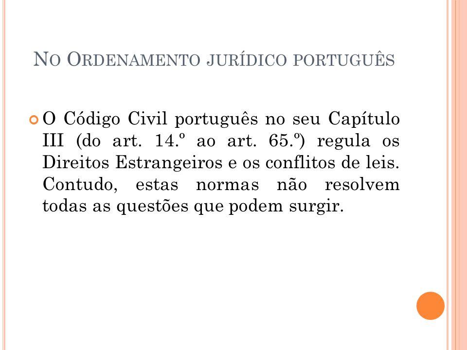 N O O RDENAMENTO JURÍDICO PORTUGUÊS O Código Civil português no seu Capítulo III (do art. 14.º ao art. 65.º) regula os Direitos Estrangeiros e os conf