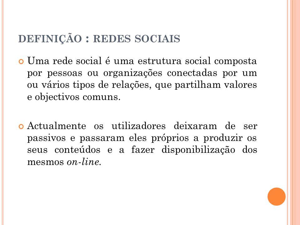 DEFINIÇÃO : REDES SOCIAIS Uma rede social é uma estrutura social composta por pessoas ou organizações conectadas por um ou vários tipos de relações, q