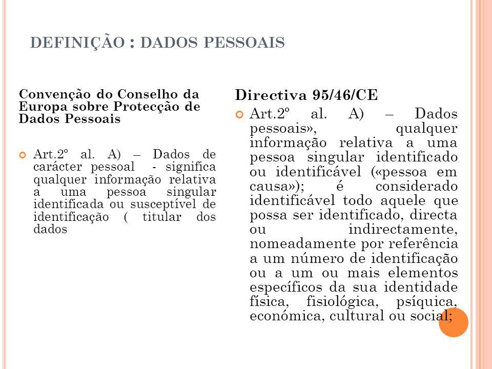 DEFINIÇÃO : DADOS PESSOAIS Convenção do Conselho da Europa sobre Protecção de Dados Pessoais Art.2º al. A) – Dados de carácter pessoal - significa qua