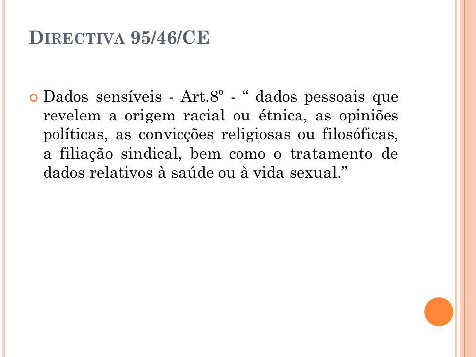 D IRECTIVA 95/46/CE Dados sensíveis - Art.8º - dados pessoais que revelem a origem racial ou étnica, as opiniões políticas, as convicções religiosas o