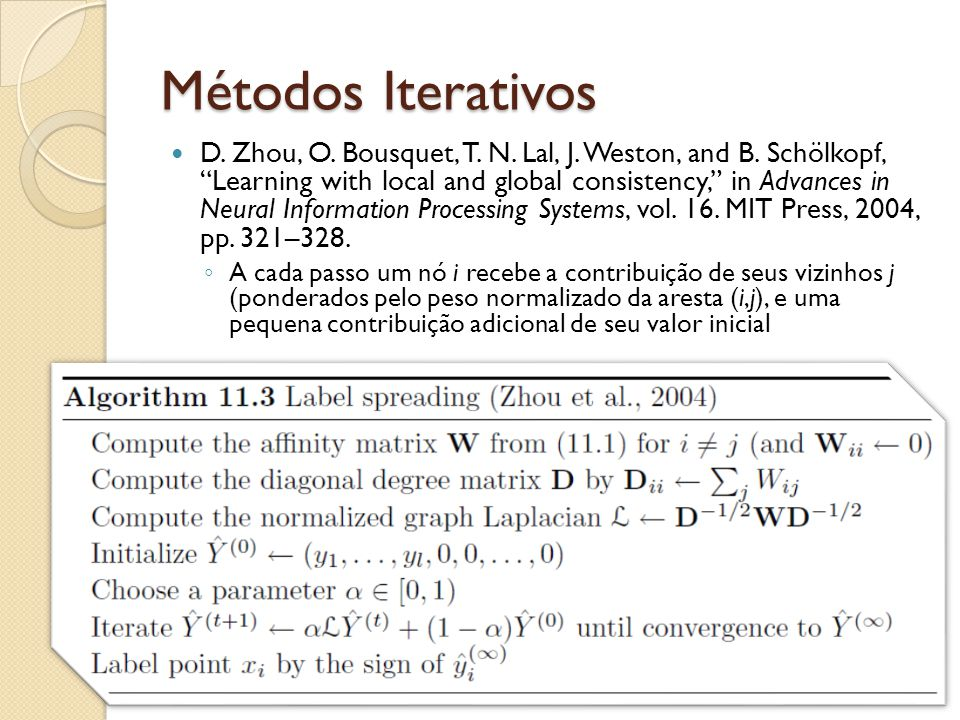 Métodos Iterativos D. Zhou, O. Bousquet, T. N. Lal, J. Weston, and B. Schölkopf, Learning with local and global consistency, in Advances in Neural Inf