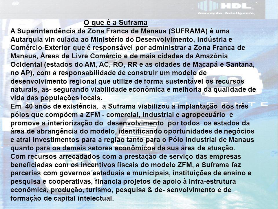 4 Processo de Internamento O que é a Suframa A Superintendência da Zona Franca de Manaus (SUFRAMA) é uma Autarquia vin culada ao Ministério do Desenvolvimento, Indústria e Comércio Exterior que é responsável por administrar a Zona Franca de Manaus, Áreas de Livre Comércio e de mais cidades da Amazônia Ocidental (estados do AM, AC, RO, RR e as cidades de Macapá e Santana, no AP), com a responsabilidade de construir um modelo de desenvolvimento regional que utilize de forma sustentável os recursos naturais, as- segurando viabilidade econômica e melhoria da qualidade de vida das populações locais.