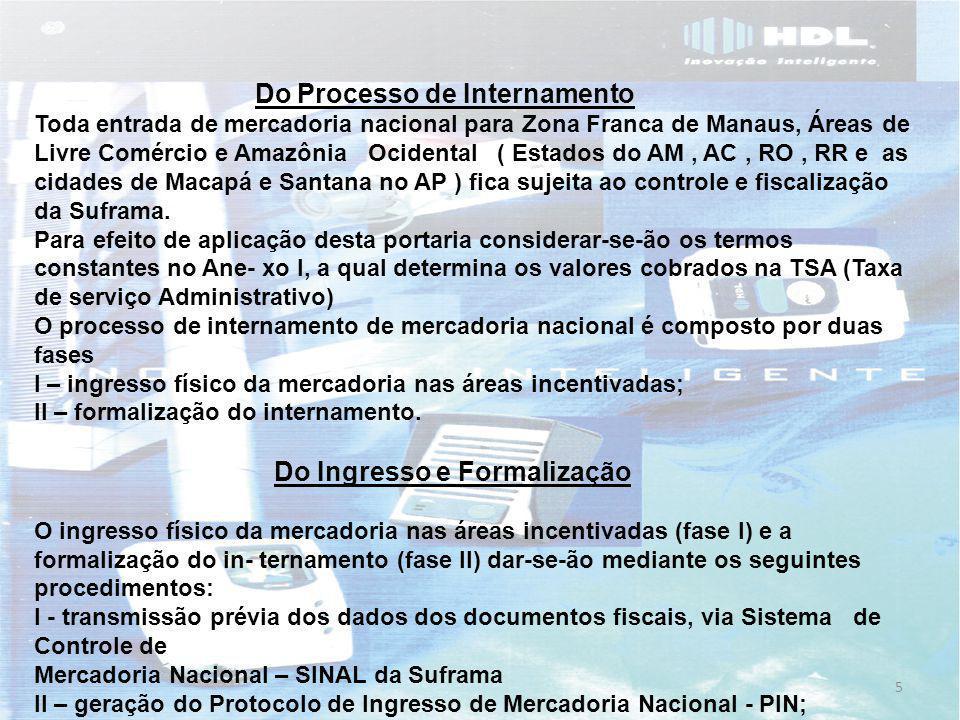 5 Do Processo de Internamento Toda entrada de mercadoria nacional para Zona Franca de Manaus, Áreas de Livre Comércio e Amazônia Ocidental ( Estados do AM, AC, RO, RR e as cidades de Macapá e Santana no AP ) fica sujeita ao controle e fiscalização da Suframa.