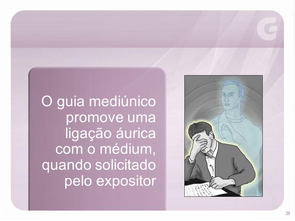 35 O guia mediúnico promove uma ligação áurica com o médium, quando solicitado pelo expositor
