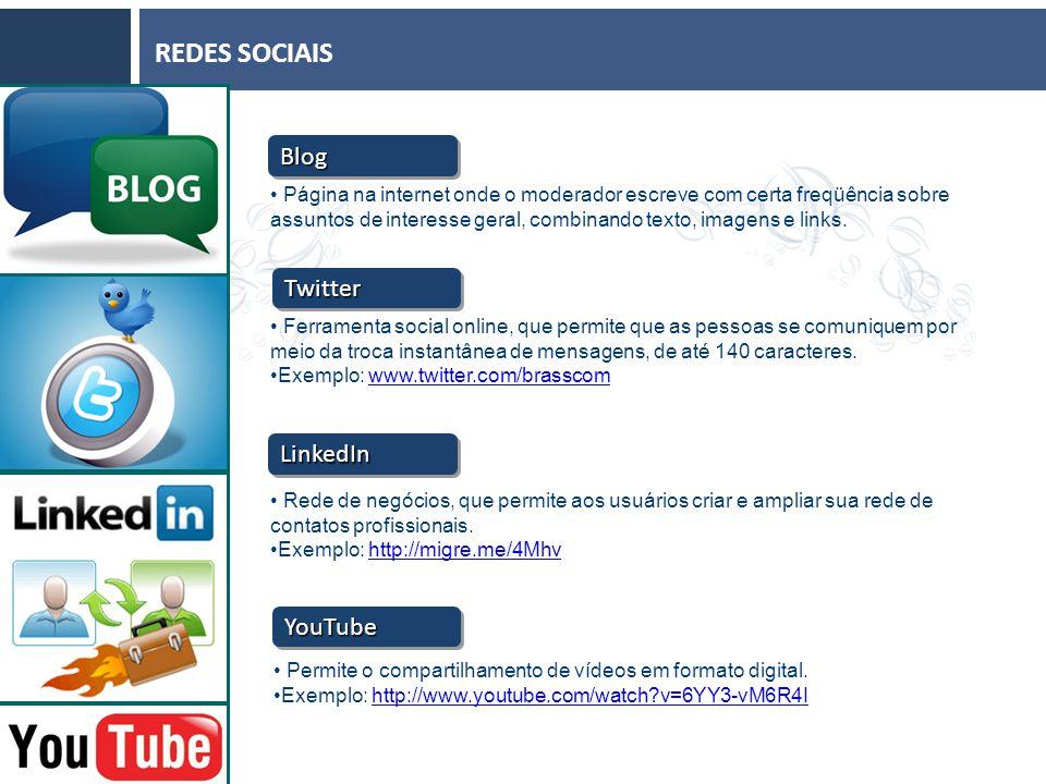 REDES SOCIAIS Página na internet onde o moderador escreve com certa freqüência sobre assuntos de interesse geral, combinando texto, imagens e links.