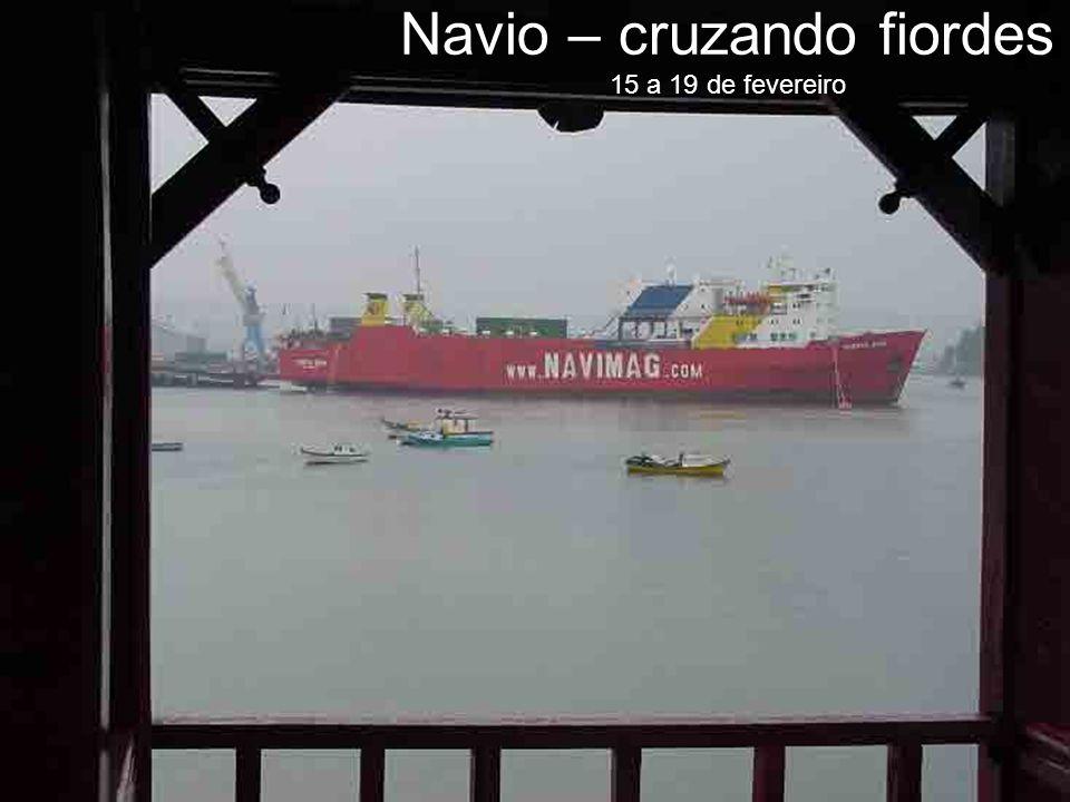 Navio – cruzando fiordes 15 a 19 de fevereiro