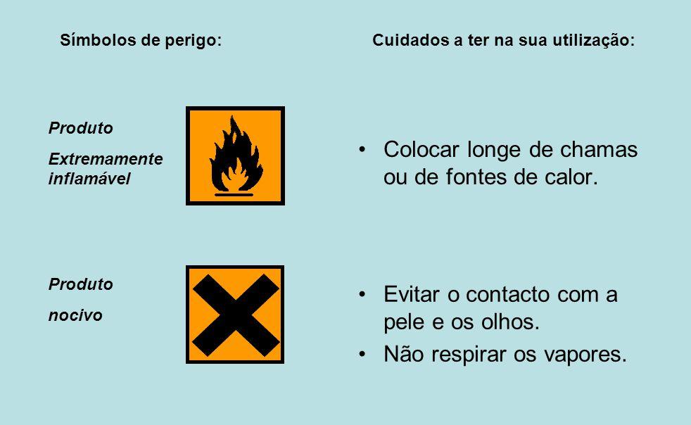 Colocar longe de chamas ou de fontes de calor. Evitar o contacto com a pele e os olhos. Não respirar os vapores. Símbolos de perigo: Cuidados a ter na