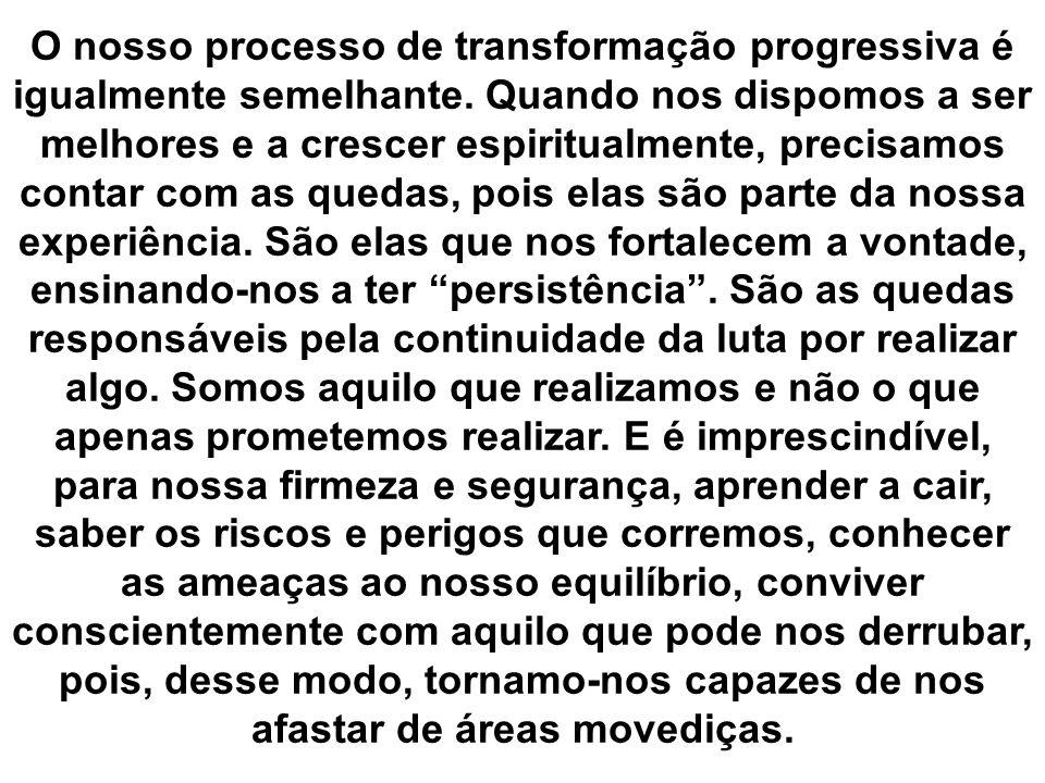 O nosso processo de transformação progressiva é igualmente semelhante. Quando nos dispomos a ser melhores e a crescer espiritualmente, precisamos cont