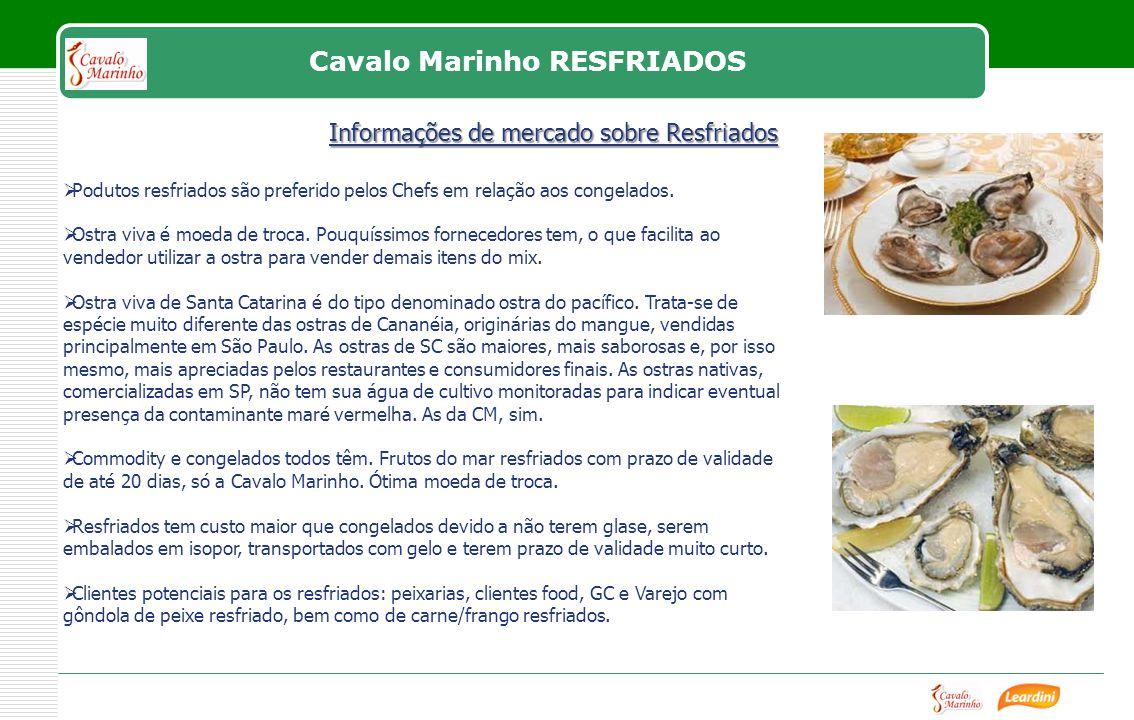 Cavalo Marinho RESFRIADOS Podutos resfriados são preferido pelos Chefs em relação aos congelados.