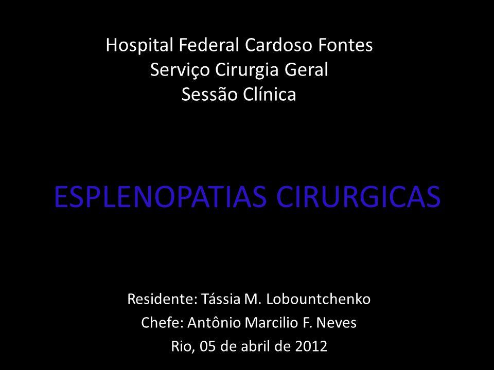 INDICAÇÕES DE ESPLENECTOMIA 1.PTI 2.Esferocitose Hereditária 3.Def.