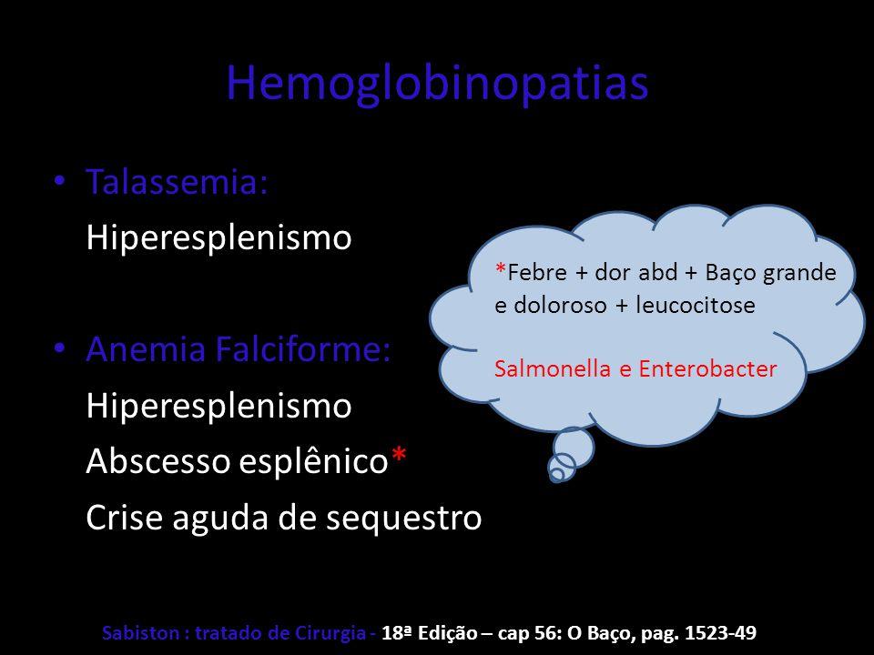 Hemoglobinopatias Talassemia: Hiperesplenismo Anemia Falciforme: Hiperesplenismo Abscesso esplênico* Crise aguda de sequestro *Febre + dor abd + Baço