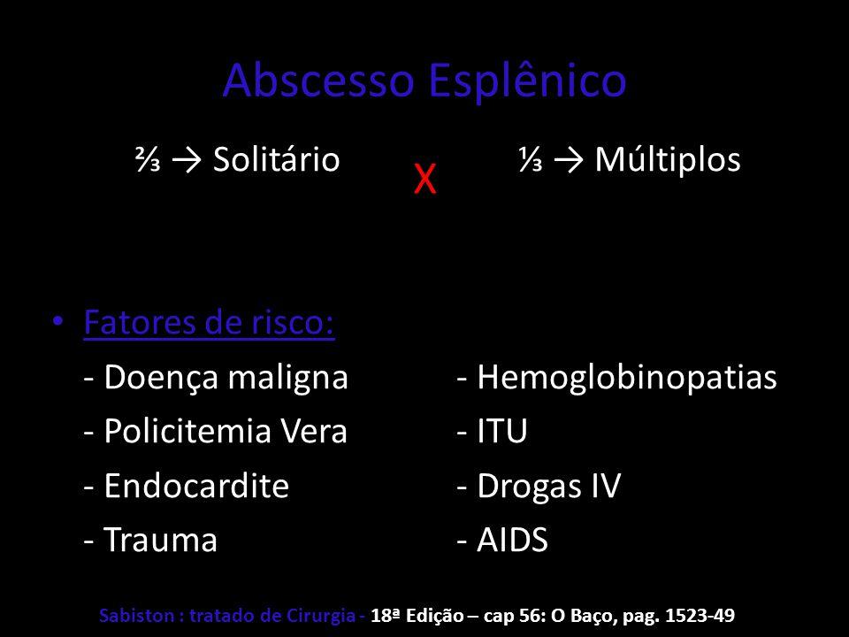 Abscesso Esplênico Solitário Fatores de risco: - Doença maligna - Policitemia Vera - Endocardite - Trauma Múltiplos - Hemoglobinopatias - ITU - Drogas
