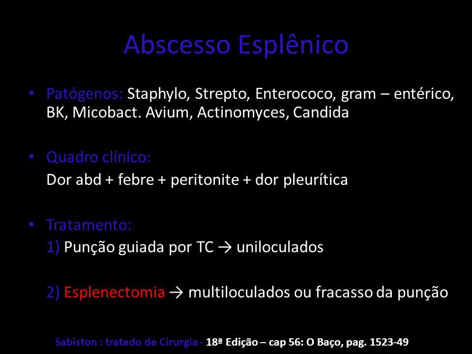 Abscesso Esplênico Patógenos: Staphylo, Strepto, Enterococo, gram – entérico, BK, Micobact. Avium, Actinomyces, Candida Quadro clínico: Dor abd + febr