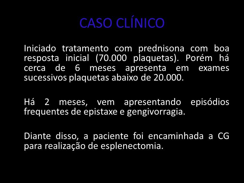 CASO CLÍNICO Iniciado tratamento com prednisona com boa resposta inicial (70.000 plaquetas). Porém há cerca de 6 meses apresenta em exames sucessivos