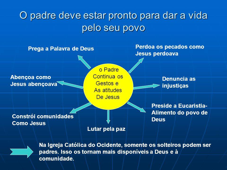 O padre deve estar pronto para dar a vida pelo seu povo o Padre Continua os Gestos e As atitudes De Jesus Lutar pela paz Preside a Eucaristia- Aliment