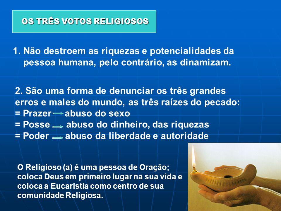 O OO OS TRÊS VOTOS RELIGIOSOS 1.Não destroem as riquezas e potencialidades da pessoa humana, pelo contrário, as dinamizam. 2. São uma forma de denunci